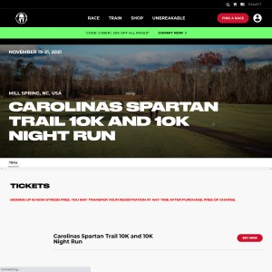Carolinas Spartan Trail - Friday, November 19th & Sunday, November 21st 2021