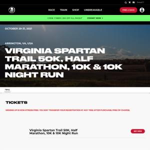 Virginia Spartan Trail - Friday, October 29th & Sunday, October 31st 2021